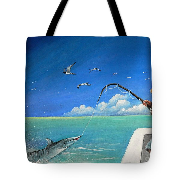 Tote Bag featuring the painting The Great Catch 1 by S G