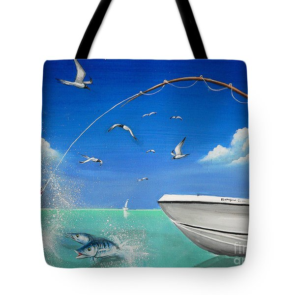 Tote Bag featuring the painting The Great Catch 2 by S G