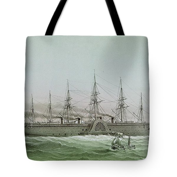 The Great Eastern Laying Electrical Cable Between Europe And America Tote Bag by Louis Le Breton