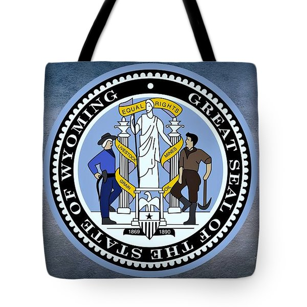 The Great Seal Of The State Of Wyoming Tote Bag by Movie Poster Prints