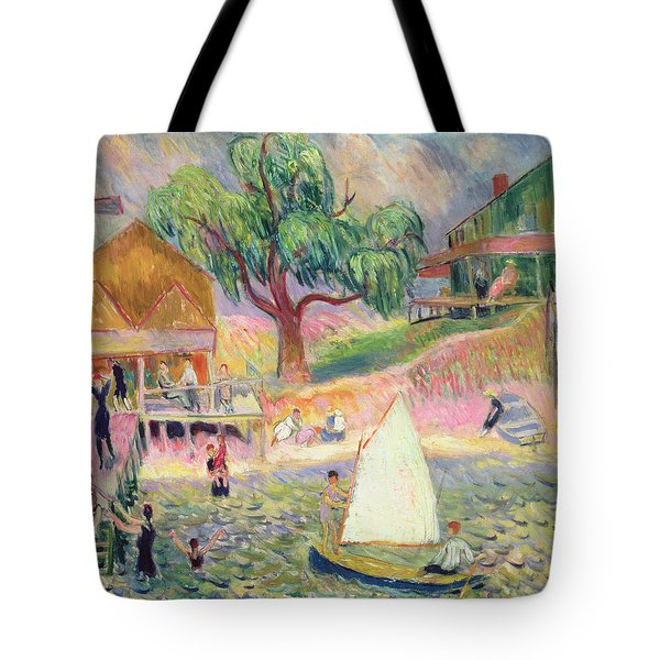 The Green Beach Cottage Tote Bag by William James Glackens