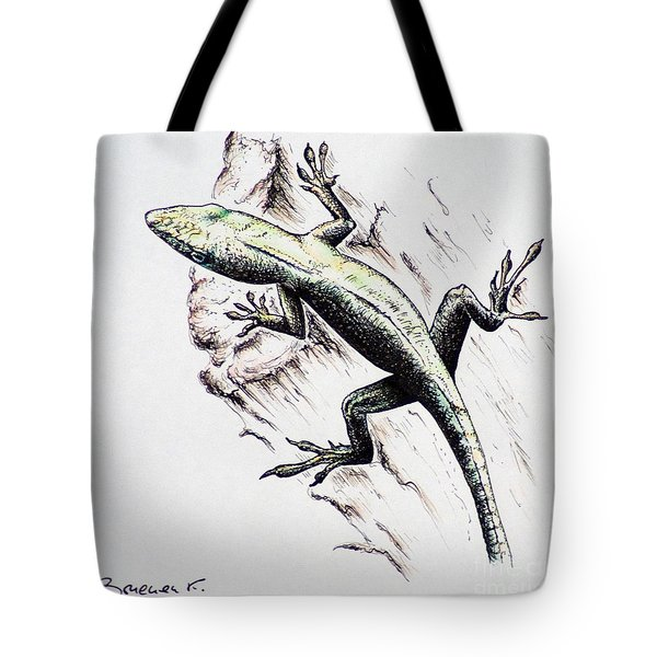The Green Lizard Tote Bag by Katharina Filus