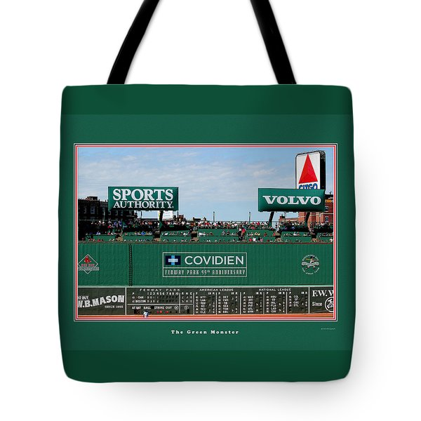 The Green Monster Fenway Park Tote Bag