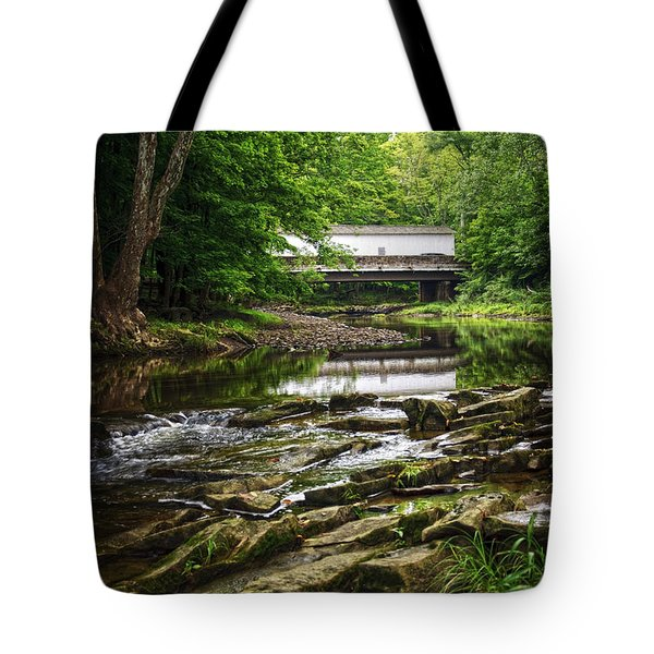 Tote Bag featuring the photograph The Green Sergeants Covered Bridge II by Debra Fedchin