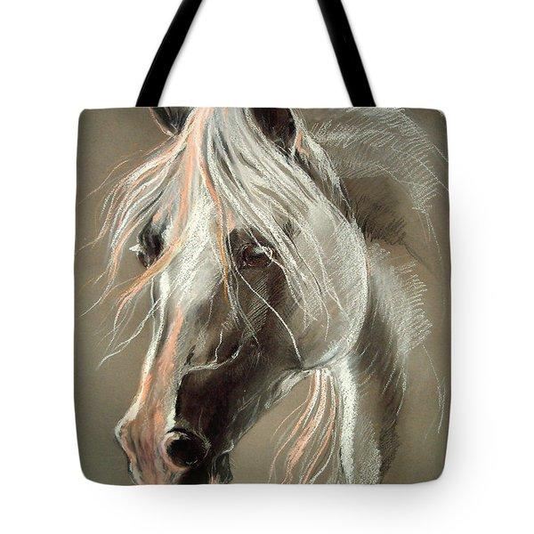The Grey Horse Soft Pastel Tote Bag by Angel  Tarantella