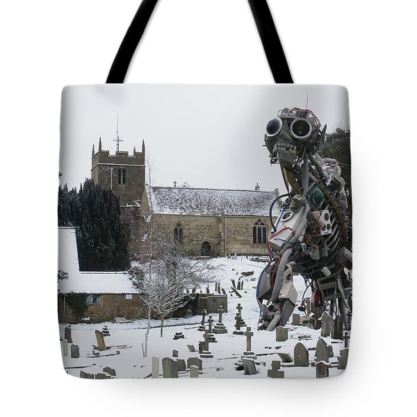 Tote Bag featuring the digital art The Grim Reaper by Ron Harpham