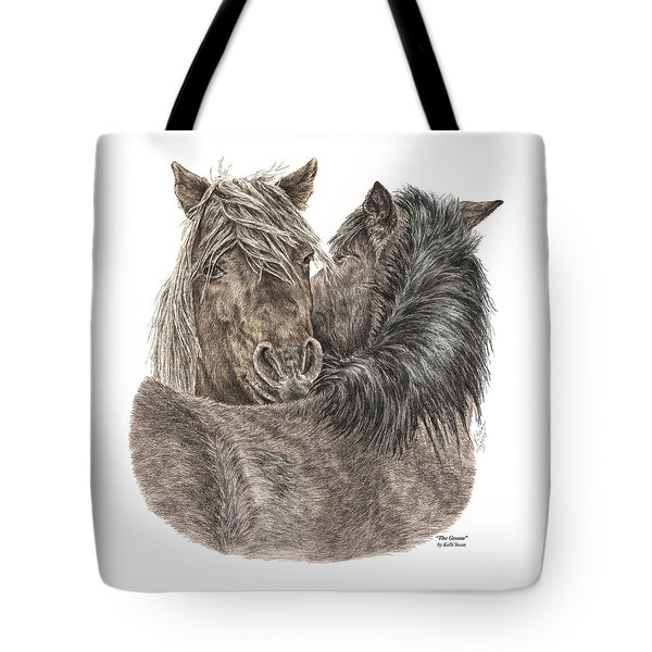 The Groom - Chincoteague Pony Print - Color Tinted Tote Bag