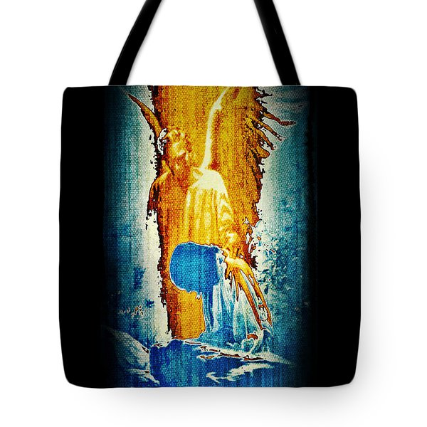 Tote Bag featuring the digital art The Guardian Angel by Absinthe Art By Michelle LeAnn Scott