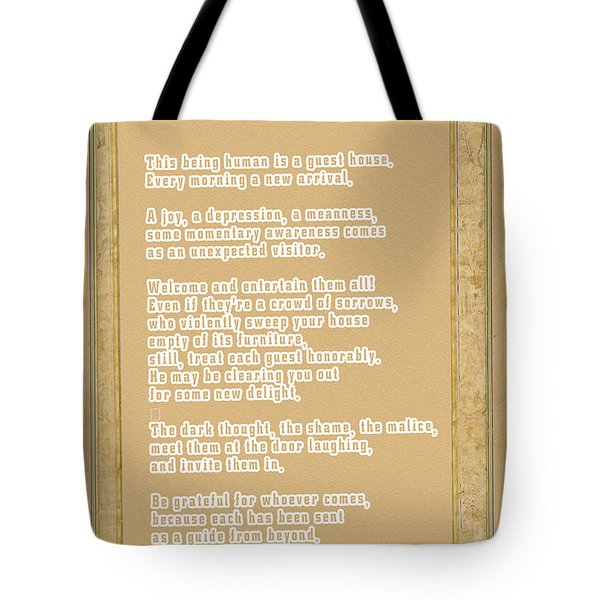 Tote Bag featuring the digital art The Guest House Poem By Rumi by Celestial Images
