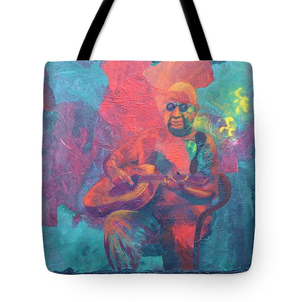 Tote Bag featuring the painting The Guitar Player by Nancy Jolley