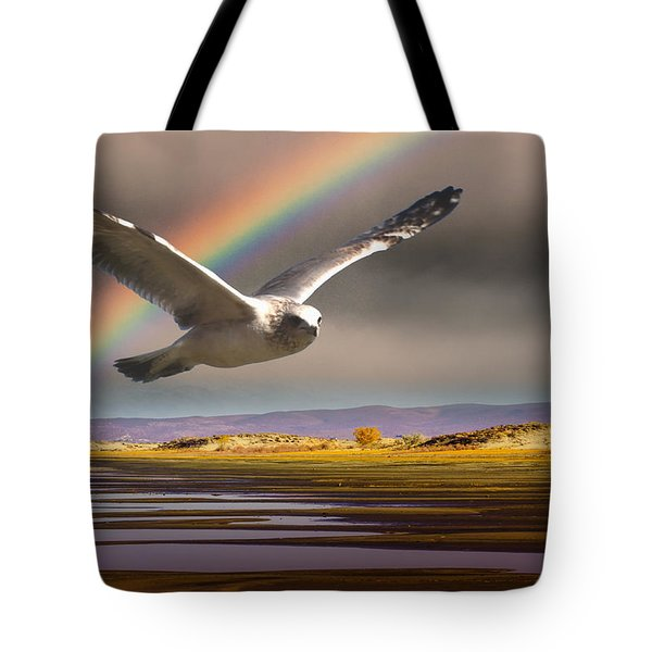 The Gull And The Rainbow Tote Bag by Janis Knight