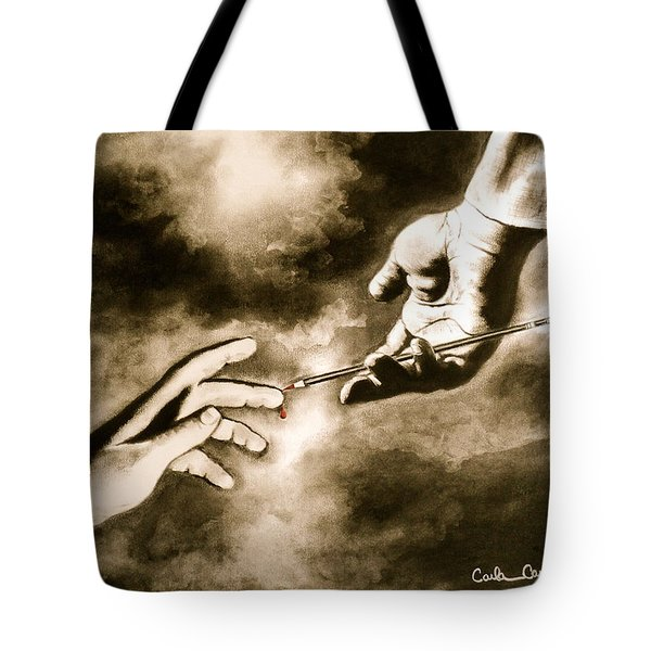 Tote Bag featuring the drawing The Hand Of God by Carla Carson