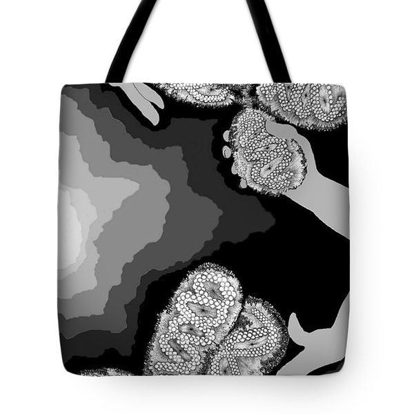 Tote Bag featuring the digital art The Hand-off by Carol Jacobs