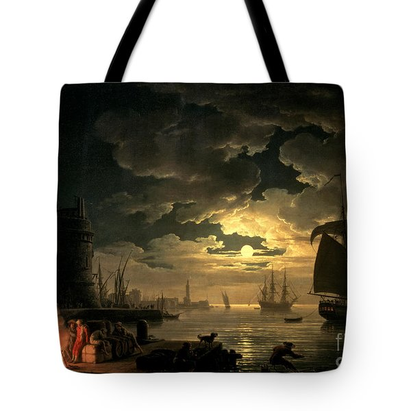 The Harbor Of Palermo Tote Bag by Claude Joseph Vernet