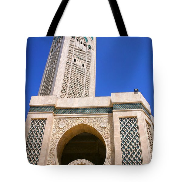 The Hassan II Mosque Grand Mosque With The Worlds Tallest 210m Minaret Sour Jdid Casablanca Morocco Tote Bag by Ralph A  Ledergerber-Photography