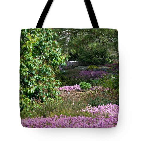 Tote Bag featuring the photograph The Heather Path by Sabine Edrissi