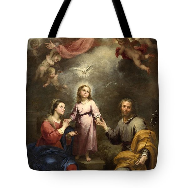 Tote Bag featuring the painting The Heavenly And Earthly Trinities by Bartolome Esteban Murillo