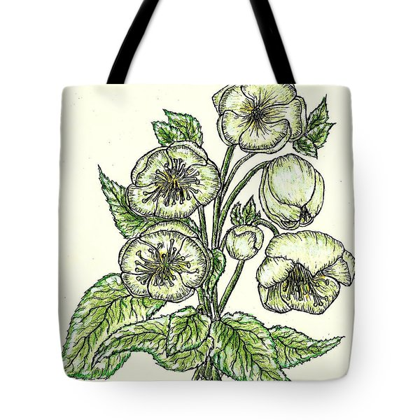 Tote Bag featuring the drawing The Helleborous by VLee Watson