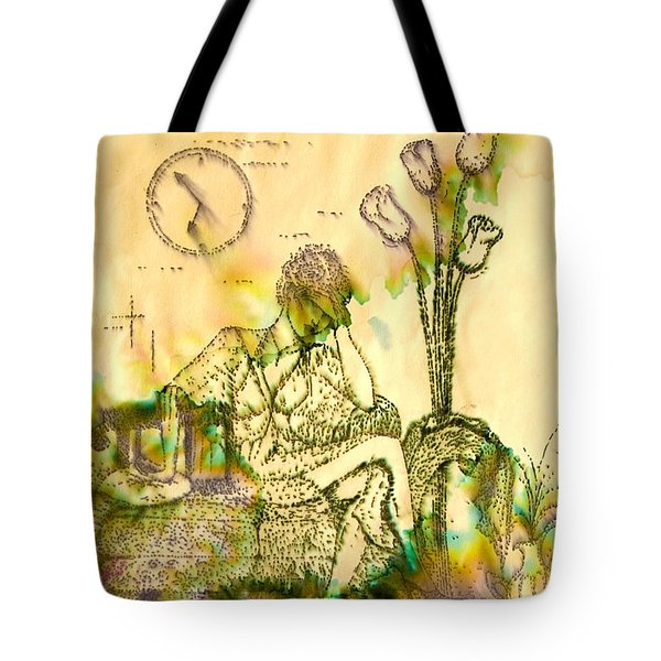 Tote Bag featuring the drawing The Hold Up Sepia Tone by Angelique Bowman