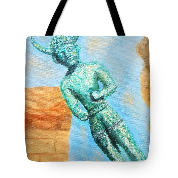 The Horned God From Egkomi .  Tote Bag by Augusta Stylianou