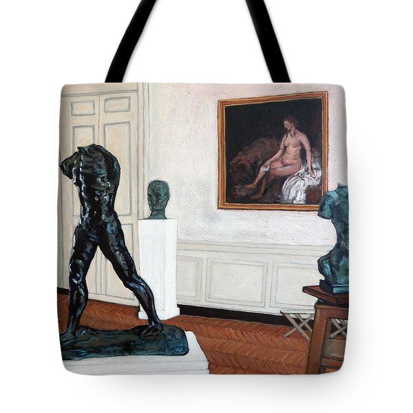 Tote Bag featuring the painting The Hotel Biron by Tom Roderick