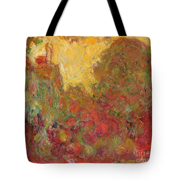 The House Seen From The Rose Garden Tote Bag by Claude Monet