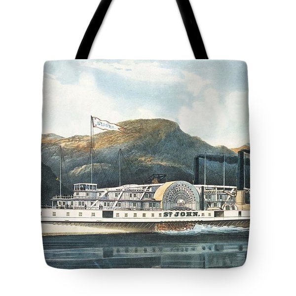 The Hudson River Steamboat St. John, Published 1864 Colour Litho Tote Bag