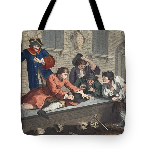 The Idle Prentice At Play In The Church Tote Bag by William Hogarth