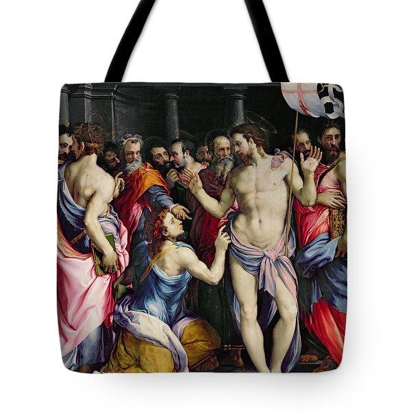 The Incredulity Of Saint Thomas Tote Bag by Francesco de Rossi Salviati Cecchino