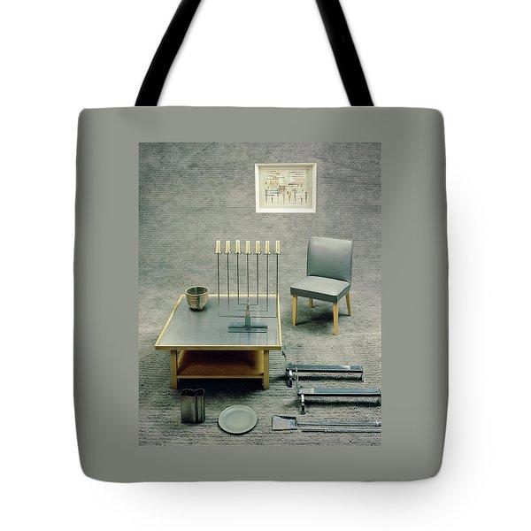 The Interior Design Of A Gray Living Room Tote Bag