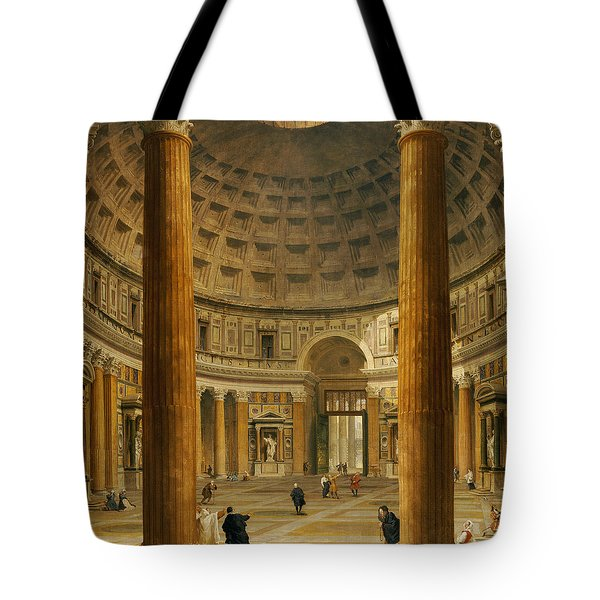 The Interior Of The Pantheon Tote Bag by Giovanni Paolo Panini