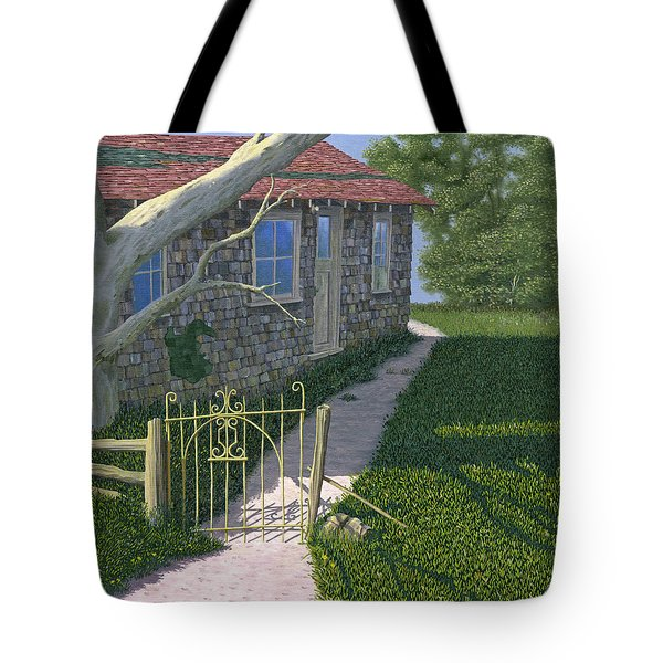Tote Bag featuring the painting The Iron Gate by Gary Giacomelli