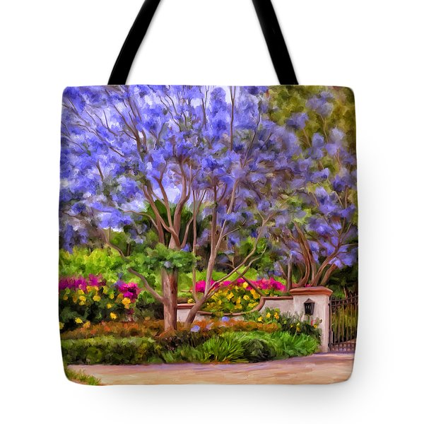 Tote Bag featuring the painting The Jacaranda by Michael Pickett