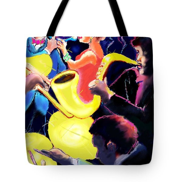 Tote Bag featuring the digital art The Jazz Singers by Ted Azriel