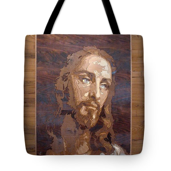 The Jesus Christ Marquetry Wood Work Tote Bag by Persian Art