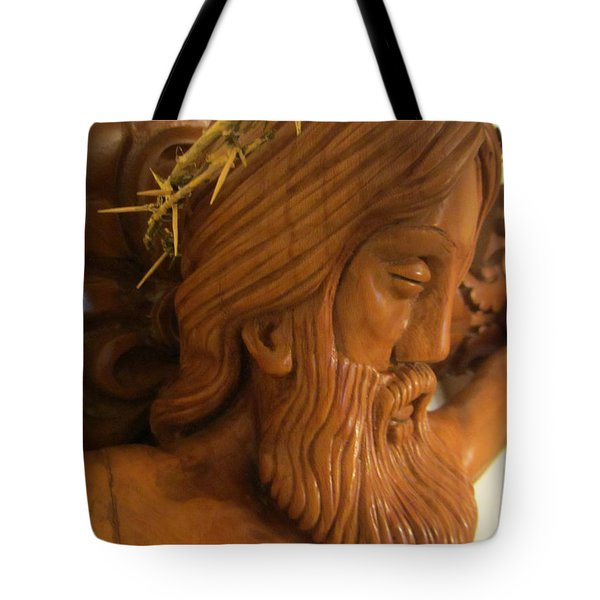 The Jesus Christ Sculpture Wood Work Wood Carving Poplar Wood Great For Church 2 Tote Bag by Persian Art