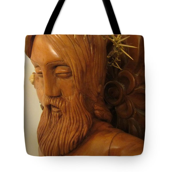 The Jesus Christ Sculpture Wood Work Wood Carving Poplar Wood Great For Church 3 Tote Bag by Persian Art