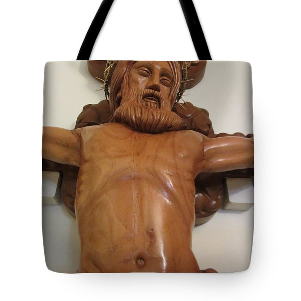 The Jesus Christ Sculpture Wood Work Wood Carving Poplar Wood Great For Church 4 Tote Bag by Persian Art