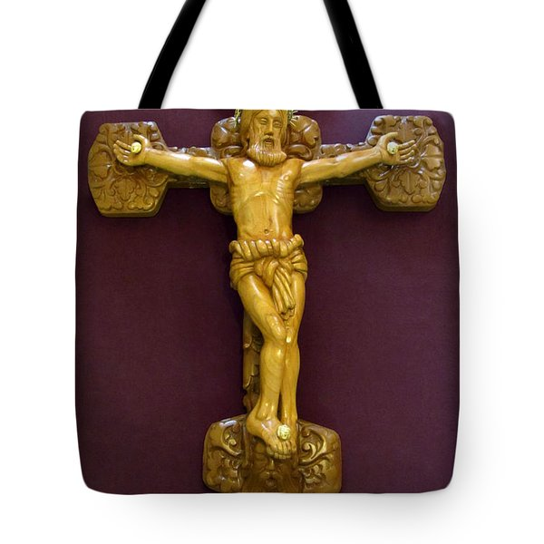 The Jesus Christ Sculpture Wood Work Wood Carving Poplar Wood Great For Church Tote Bag by Persian Art