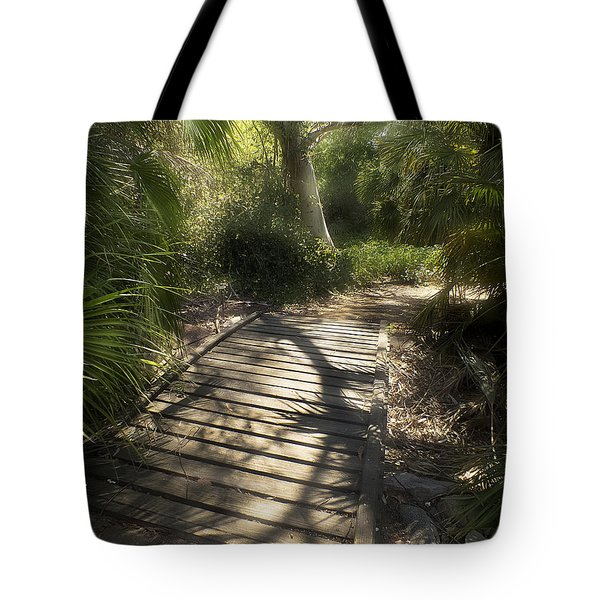 Tote Bag featuring the photograph The Journey Along The Path Comes With Light And Shadows by Lucinda Walter