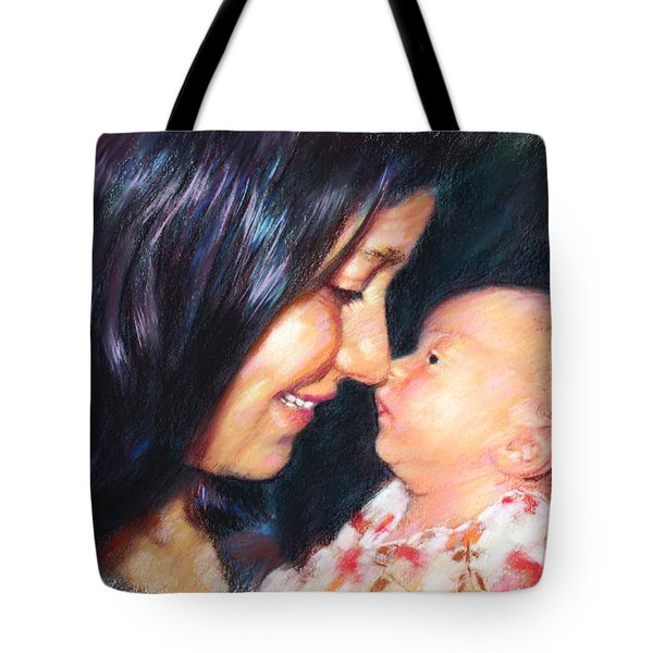Tote Bag featuring the drawing The Joy Of A Young Mother by Viola El