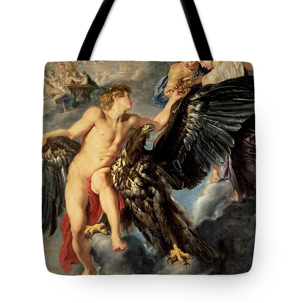The Kidnapping Of Ganymede Tote Bag by Rubens