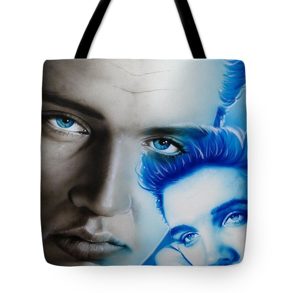 Elvis Presley - ' The King ' Tote Bag by Christian Chapman Art