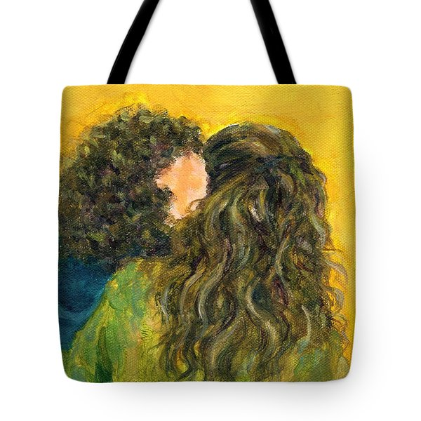 The Kiss Of Two Curly Haired Lovers Tote Bag by Jingfen Hwu