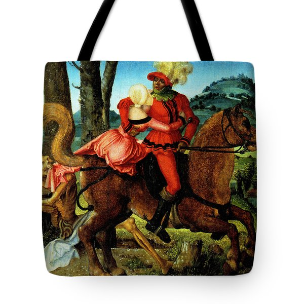 The Knight Young Girl And Death Tote Bag by Hans Baldung