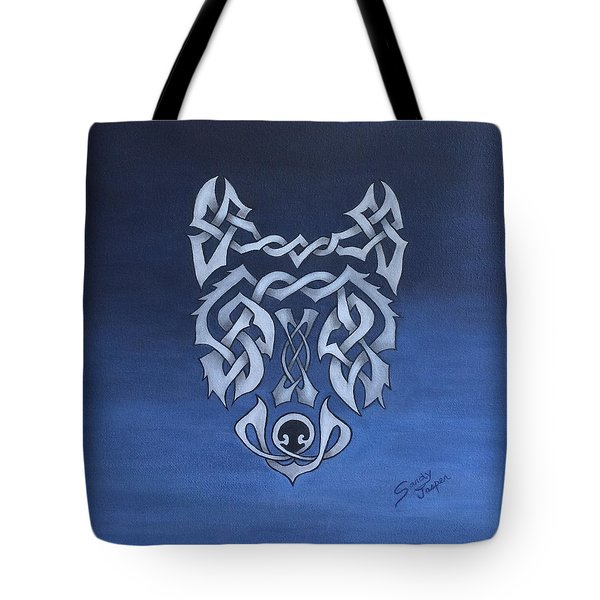 The Knotty Wolf Tote Bag by Sandy Jasper