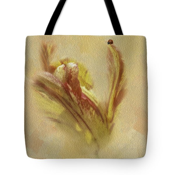 The Lady And The Parrot Tulip Tote Bag by Diane Schuster