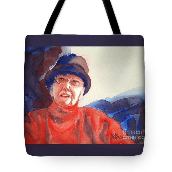 The Lady In Red Tote Bag by Kathy Braud