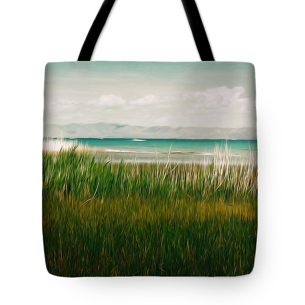 The Lake - Digital Oil Tote Bag by Mary Machare
