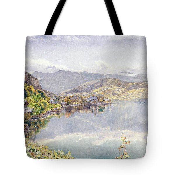 The Lake Of Lucerne, Mount Pilatus Tote Bag by John William Inchbold